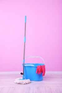 Floor mop and bucket for washing in room on pink wall background